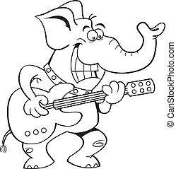 Cartoon Elephant Playing a Guitar - Black and white...