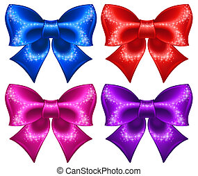Festive bows with glitter
