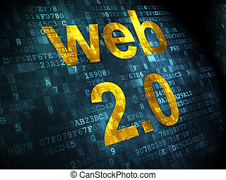 SEO web development concept: Web 20 on digital background -...
