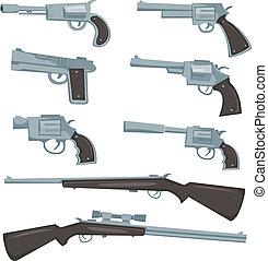 caricatura, armas de fuego, revólver, y, Rifles,...