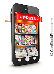 3d newsstand smartphone, isolated white background, 3d image