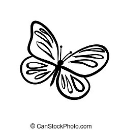 Butterfly sketch - Vector hand drawn butterfly. Black sketch...