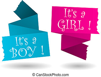 Origami banner-boy-girl-announcement - Origami banner with...