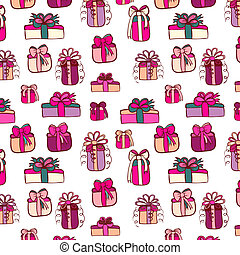 Pink gifts seamless pattern on white