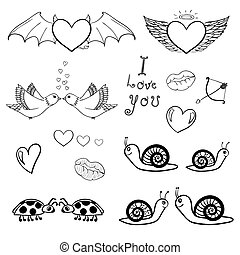Valentines doodles - Vector set of st Valentine day related...