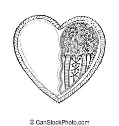 Valentines heart sketch left - Ornate hand drawn heart...