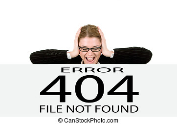 page not found 404 error - Frustrated business woman , page...