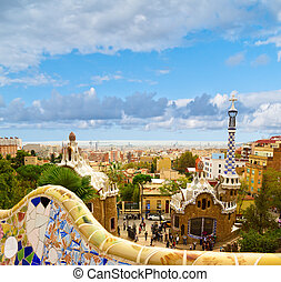 Park Guell, Barcelona, Spain - Park Guell designed by...
