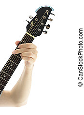Guitar headstock - Headstock of a guitar on white background