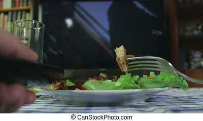 Man Eating and Watching TV POV