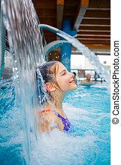 activities on the pool - Activities on the pool. Cute girl...