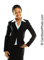 Portrait of a successful young business woman over white background