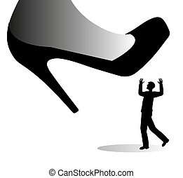 Shoe giant and little man - Shoe giant is about to trample a...