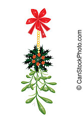 Green Mistletoe and Christmas Holly with A Red Bow