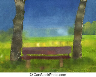 park bench water color canvas