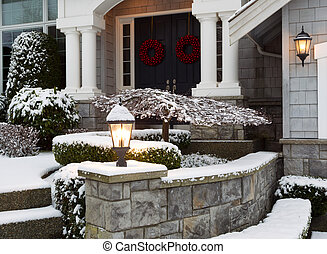 Front of Home during the Winter Holidays - Closeup photo of...