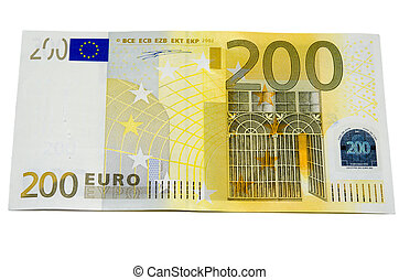 Two hundred euro money - Two hundred euro banknote with a...