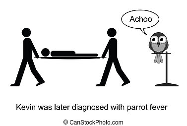 Parrot Fever - Kevin contracted a fever cartoon isolated on...