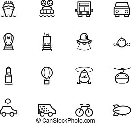 vehicle black icon set on white background