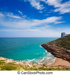 Cullera Cala beach near Faro in blue Mediterranean