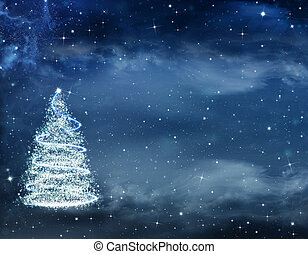 beautiful Christmas background with Christmas tree and stars...