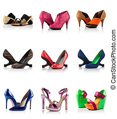 Collection - various types of female shoes