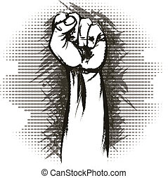 The raised fist - Illustration with raised fist drawn in...