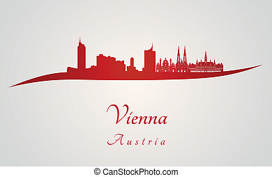 Vienna skyline in red and gray background in editable vector...