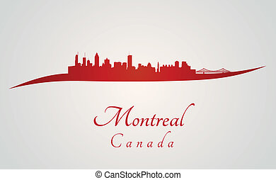 Montreal skyline in red and gray background in editable...