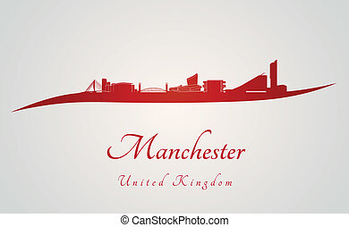Manchester skyline in red and gray background in editable...