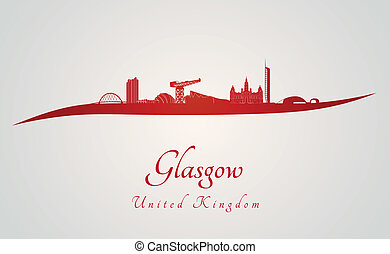 Glasgow skyline in red and gray background in editable...