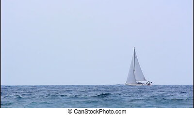 Sailboat, turbulent sea - Sailboat navigating the turbulent...