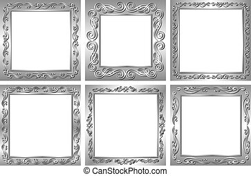 silver frames - set of silver frames with transparent space...