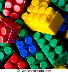 Colour bricks - The background photo of multicolour toy...