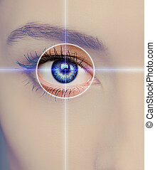 Eye technology, medicine and vision concept Focus on blue...