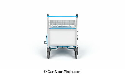 Airport trolley with blue suitcases rotates on white...