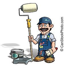 Handyman - Painter - Cartoon illustration of a handyman -...