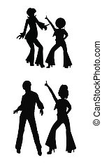 disco dancers in silhouette