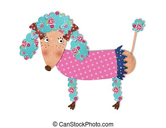 the poodle  - colorful graphic illustration for children