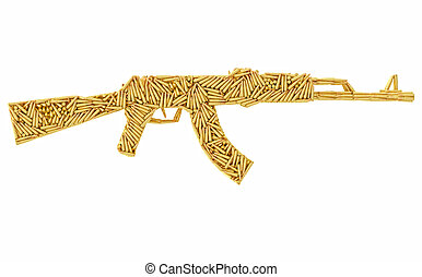 Assault rifle shape composed of ammunition cartridges...