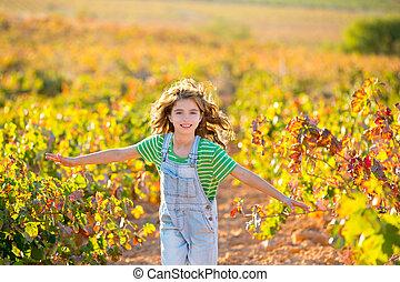 VINHEDO, Outono, campo, Executando, agricultor, menina, criança