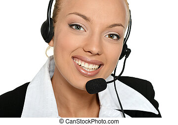 Young nice woman with phone - Young nice call operator woman...