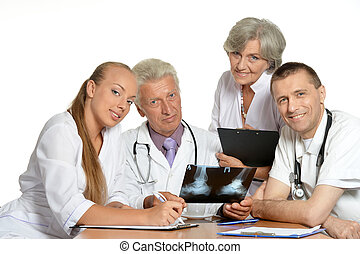 Doctors discussion - Group of doctors have a discussion at...