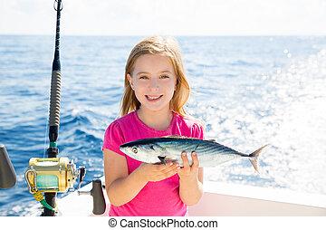 pez,  bonito, pesca, rubio, coger, Atún, niño, niña,  sarda, feliz