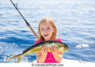 mahi-mahi, pez, pesca,  dorado, rubio, coger, niña, niño, feliz