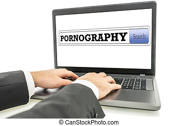 Surfing the internet for pornography - Male hands surfing...