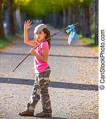 pequeno, criança, Hobo, vara, saco, Pacote, menina,...