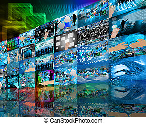 Wall high-tech - Abstract internet perspective of a...