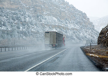 US snowing I 15 interstate snowed road in Nevada USA