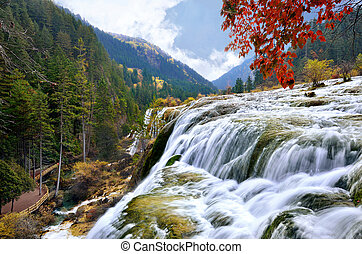 Jiuzhaigou National Park - Pearl waterfall in Jiuzhaigou...